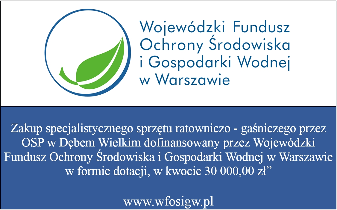 Dofinansowanie z Wojewódzkiego Funduszu Ochrony Środowiska i Gospodarki Wodnej w Warszawie